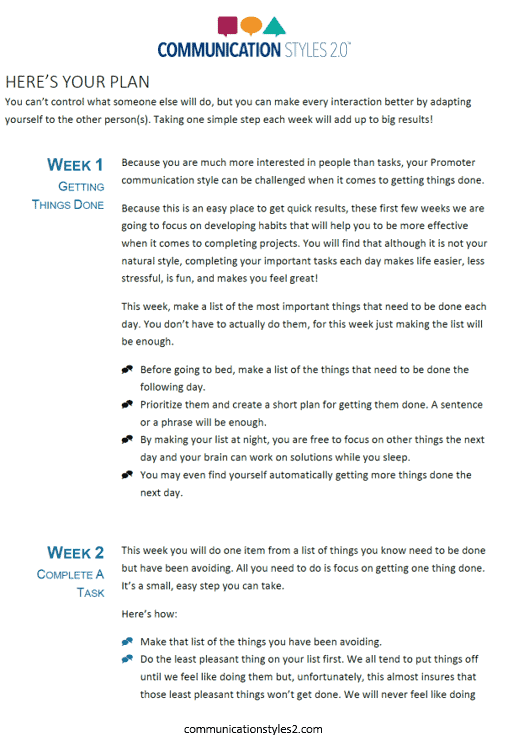 Communication Styles Action Plan