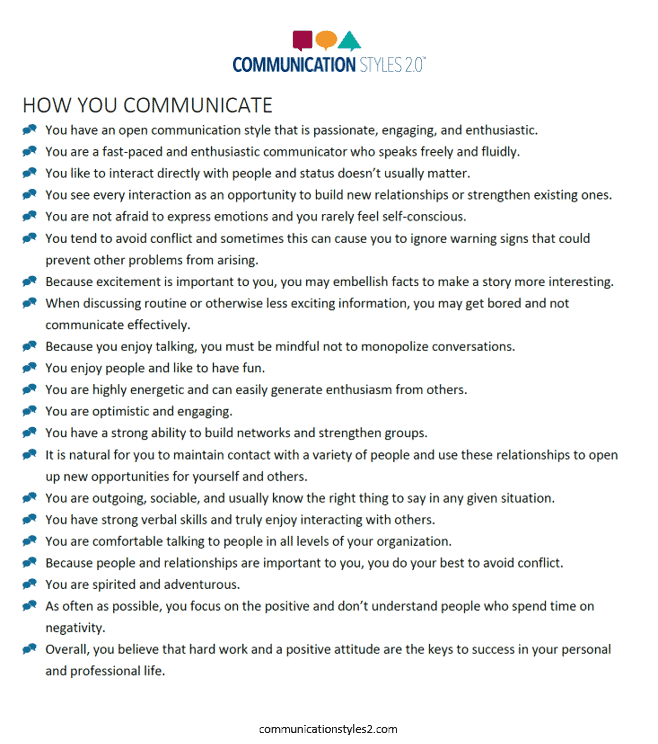 Communication Styles 2 Details Report